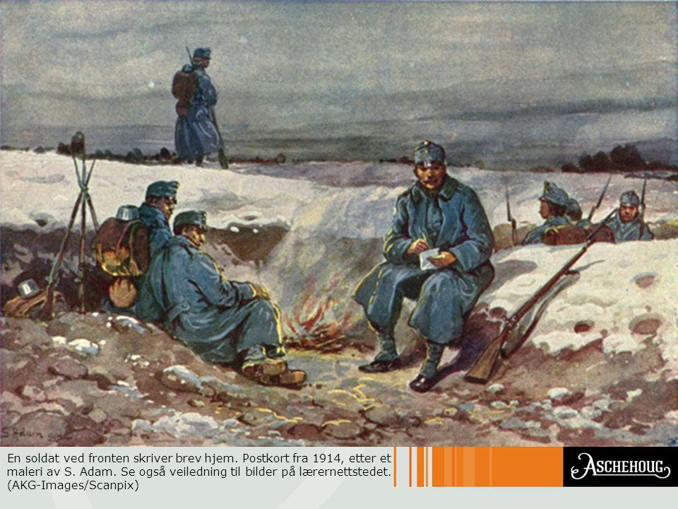 En soldat ved fronten skriver brev hjem