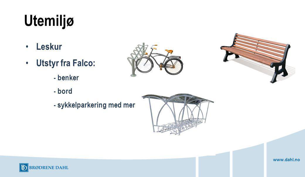 Utemiljø Leskur Utstyr fra Falco: - benker - bord