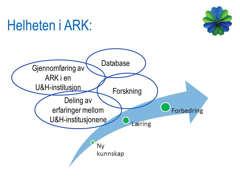 Helheten i ARK: Database Gjennomføring av ARK i en U&H-institusjon
