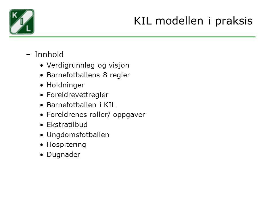 KIL modellen i praksis Innhold Verdigrunnlag og visjon