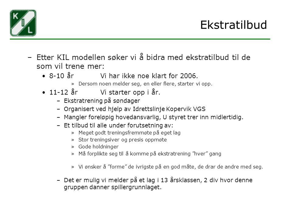 Ekstratilbud Etter KIL modellen søker vi å bidra med ekstratilbud til de som vil trene mer: 8-10 år Vi har ikke noe klart for 2006.