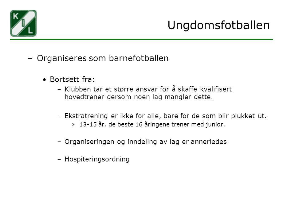 Ungdomsfotballen Organiseres som barnefotballen Bortsett fra: