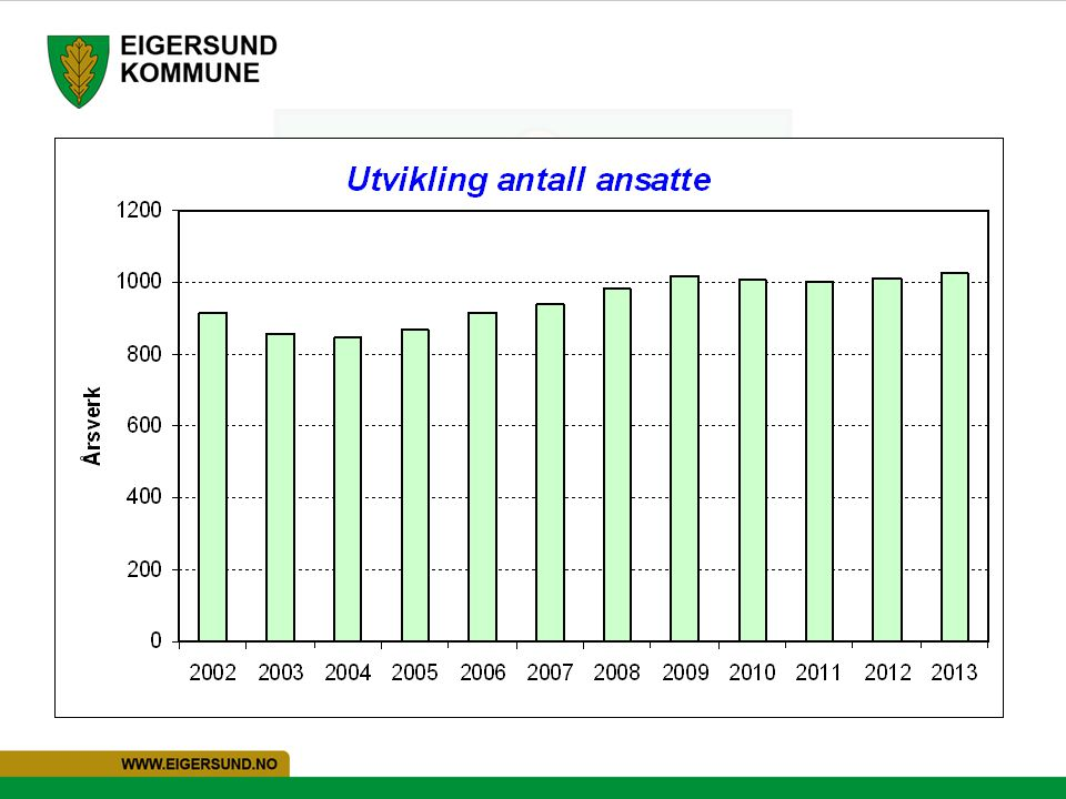 914,6 årsverk i 2002 845 årsverk i 2004. 1.015,27 årsverk i 2009. 999,85 årsverk i 2011.