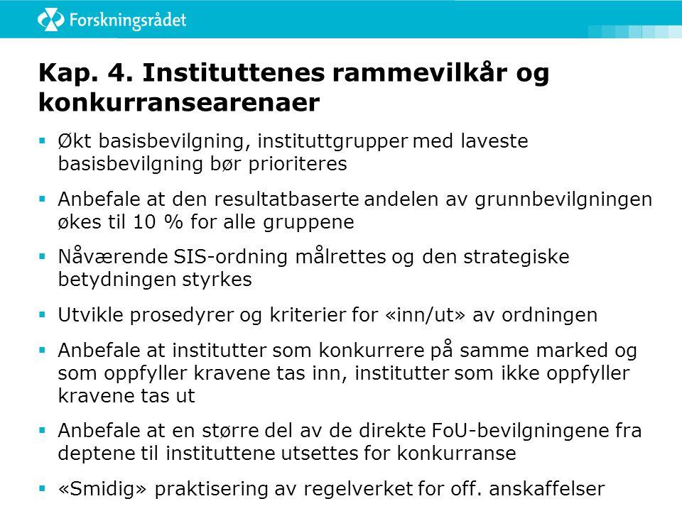 Kap. 4. Instituttenes rammevilkår og konkurransearenaer