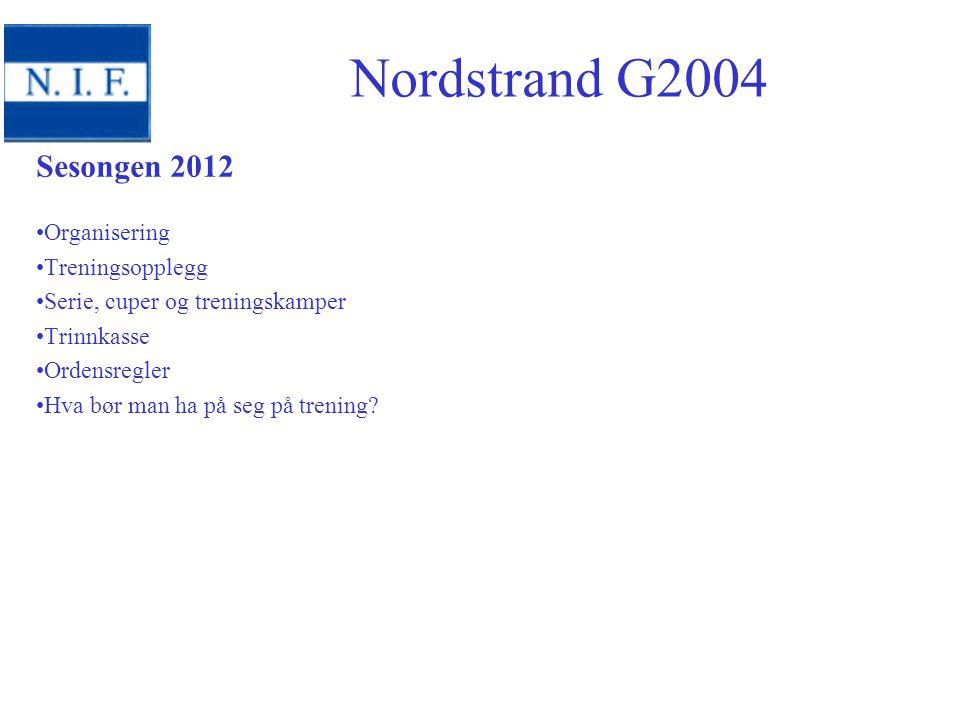 Nordstrand G2004 Sesongen 2012 Organisering Treningsopplegg