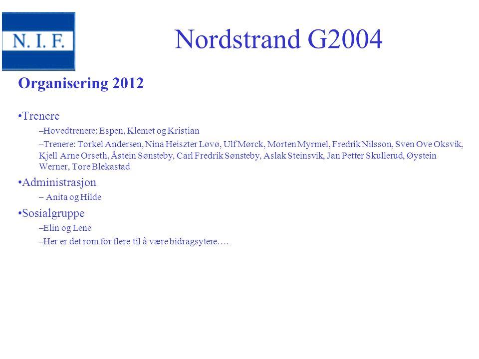Nordstrand G2004 Organisering 2012 Trenere Administrasjon Sosialgruppe