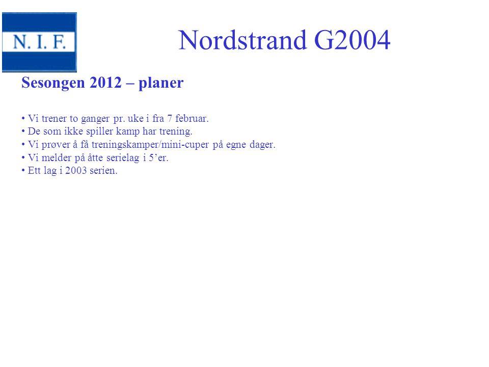 Nordstrand G2004 Sesongen 2012 – planer