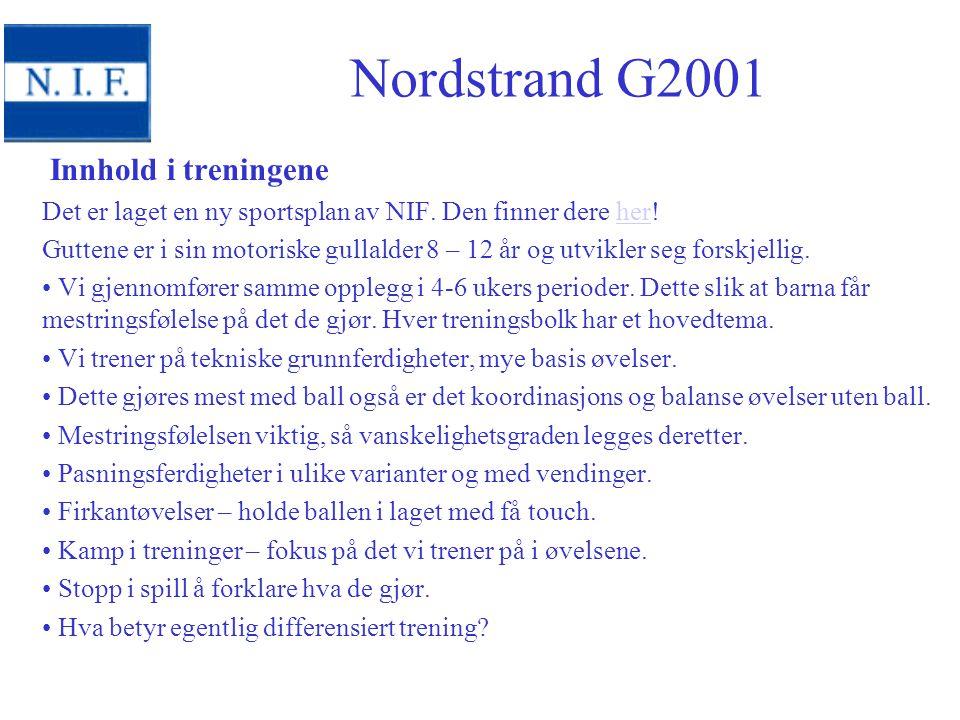 Nordstrand G2001 Innhold i treningene
