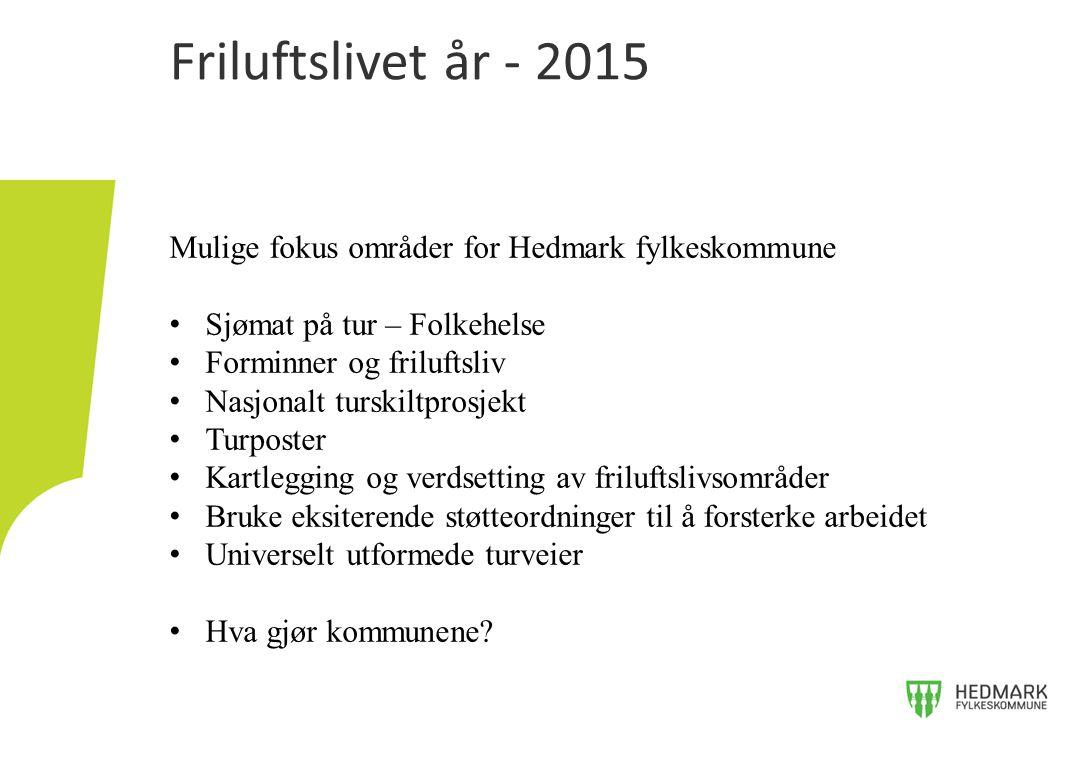 Friluftslivet år - 2015 Mulige fokus områder for Hedmark fylkeskommune