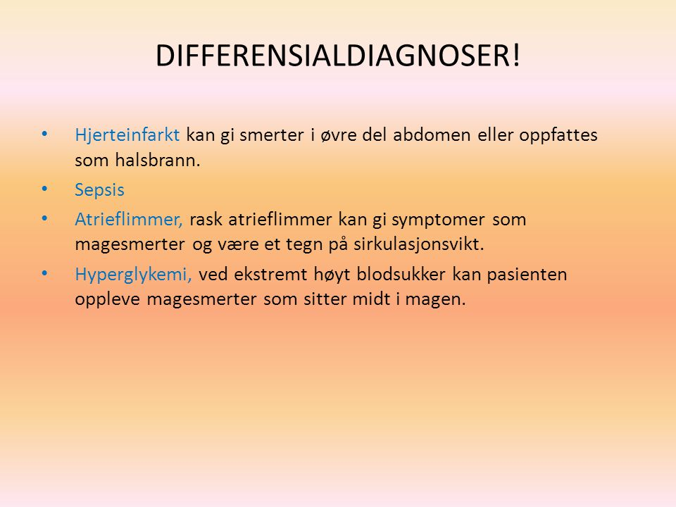 DIFFERENSIALDIAGNOSER!