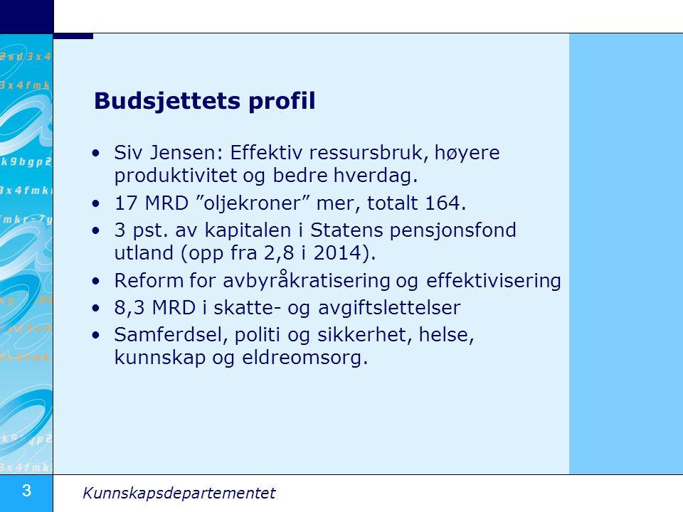 Budsjettets profil Siv Jensen: Effektiv ressursbruk, høyere produktivitet og bedre hverdag. 17 MRD oljekroner mer, totalt 164.