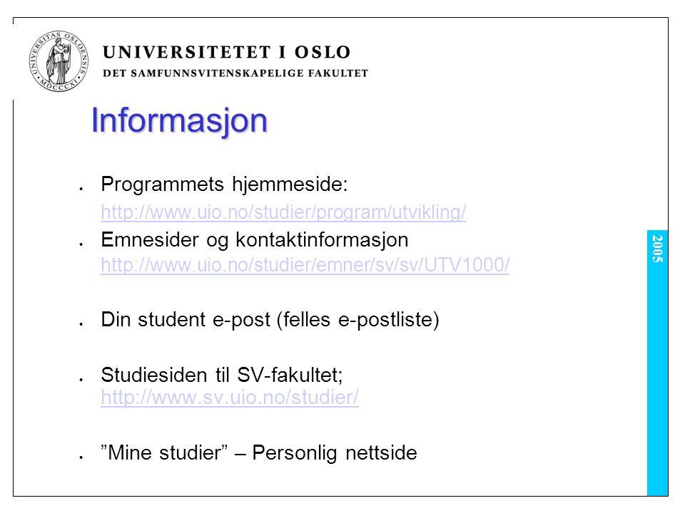 Informasjon Programmets hjemmeside: