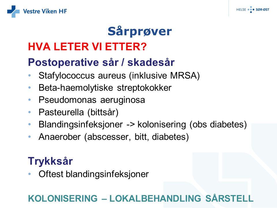 Sårprøver HVA LETER VI ETTER Postoperative sår / skadesår Trykksår