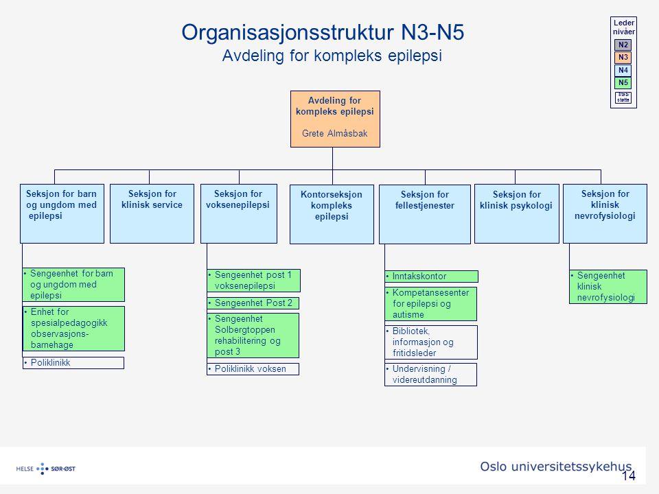 Organisasjonsstruktur N3-N5 Avdeling for kompleks epilepsi