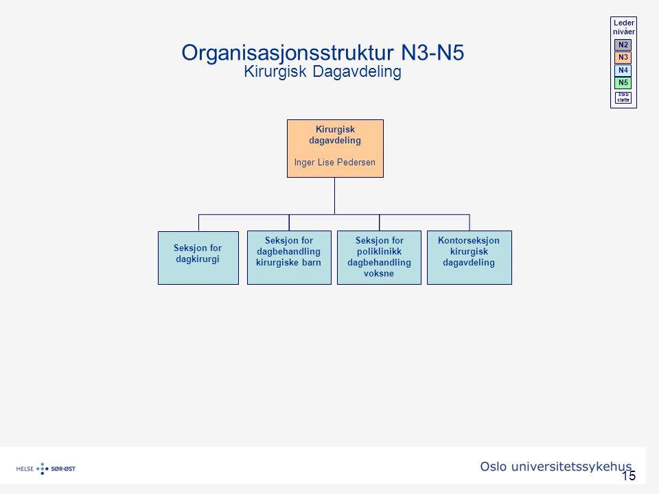 Organisasjonsstruktur N3-N5 Kirurgisk Dagavdeling