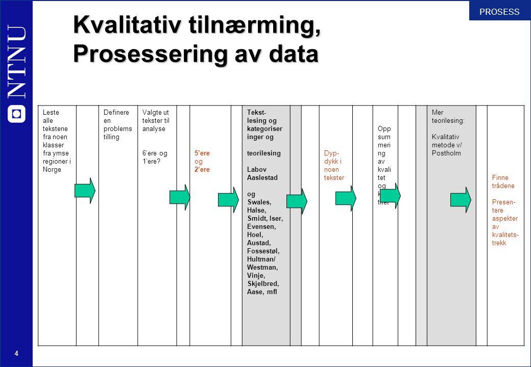 Kvalitativ tilnærming, Prosessering av data