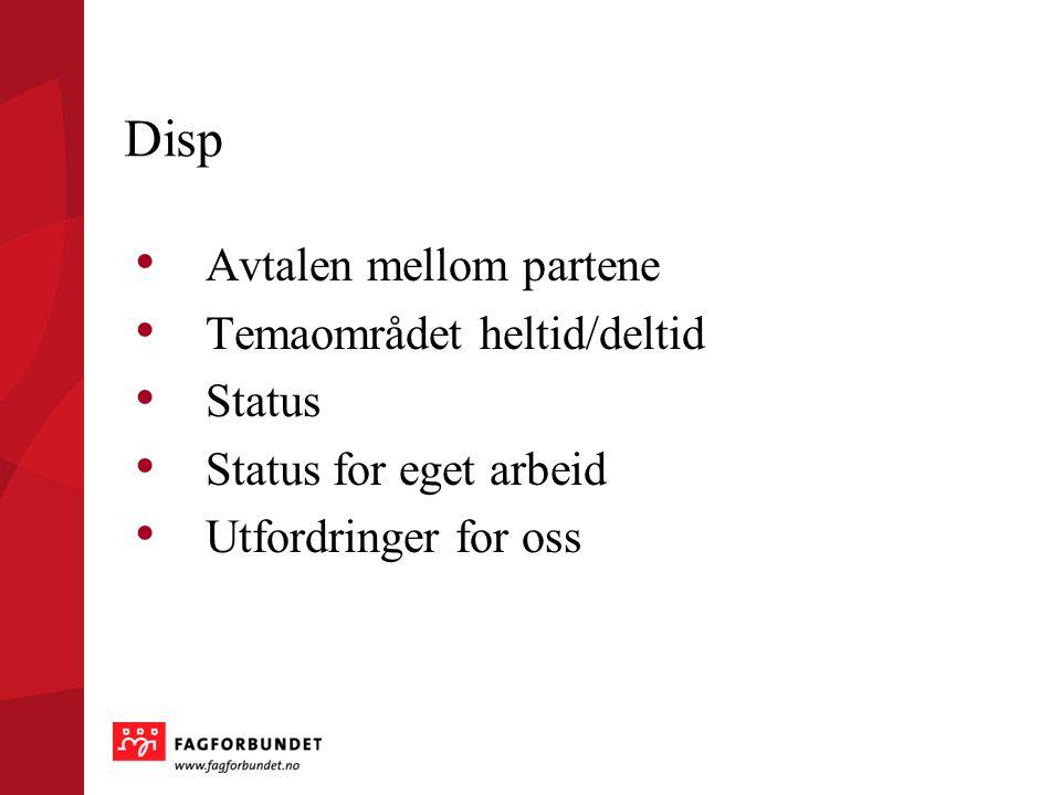 Disp Avtalen mellom partene Temaområdet heltid/deltid Status