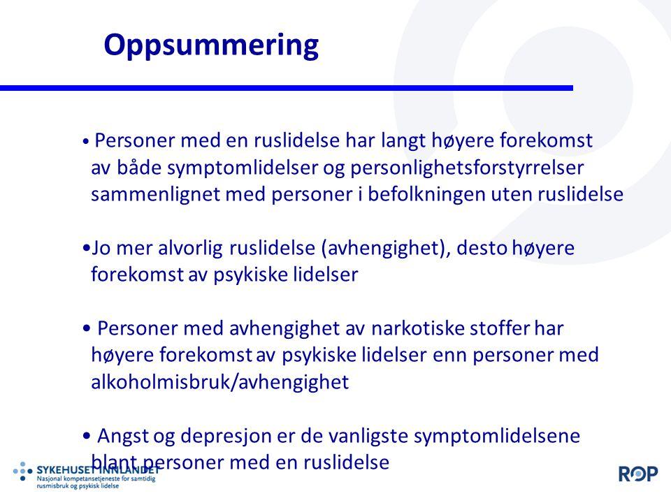 Oppsummering av både symptomlidelser og personlighetsforstyrrelser