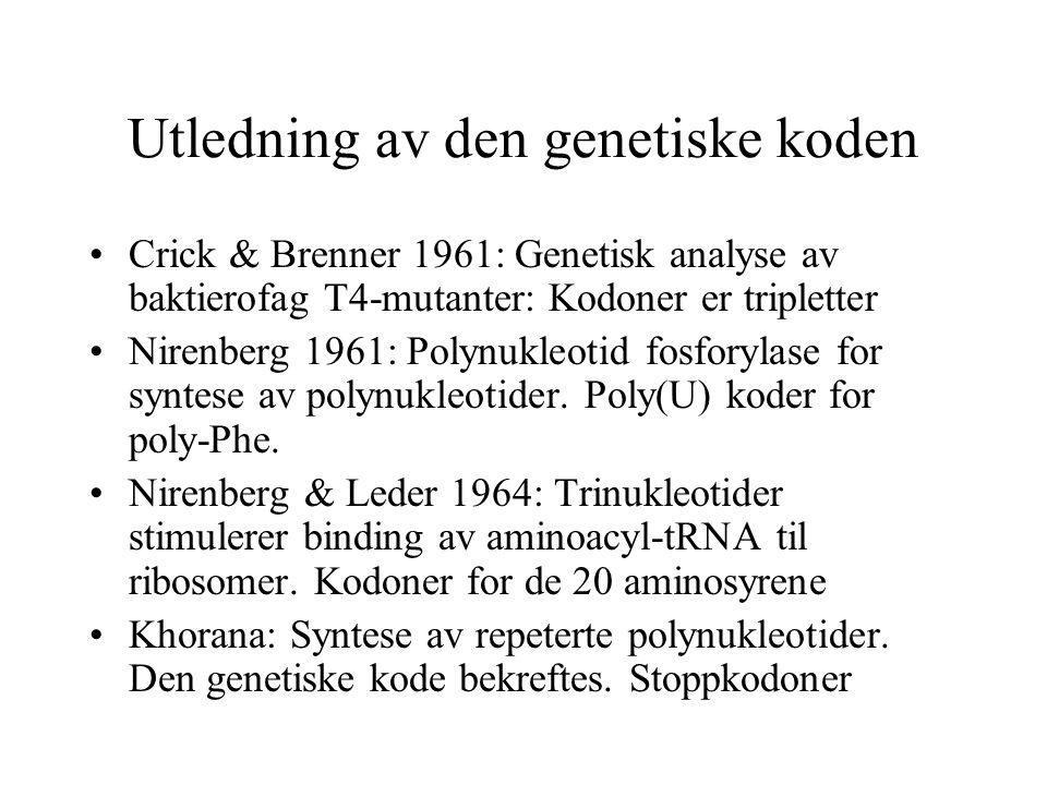 Utledning av den genetiske koden