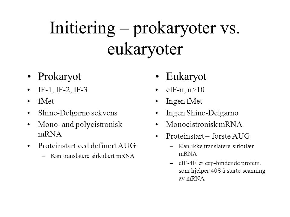 Initiering – prokaryoter vs. eukaryoter