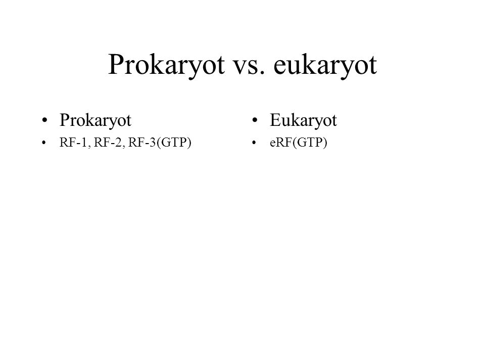 Prokaryot vs. eukaryot Prokaryot Eukaryot RF-1, RF-2, RF-3(GTP)