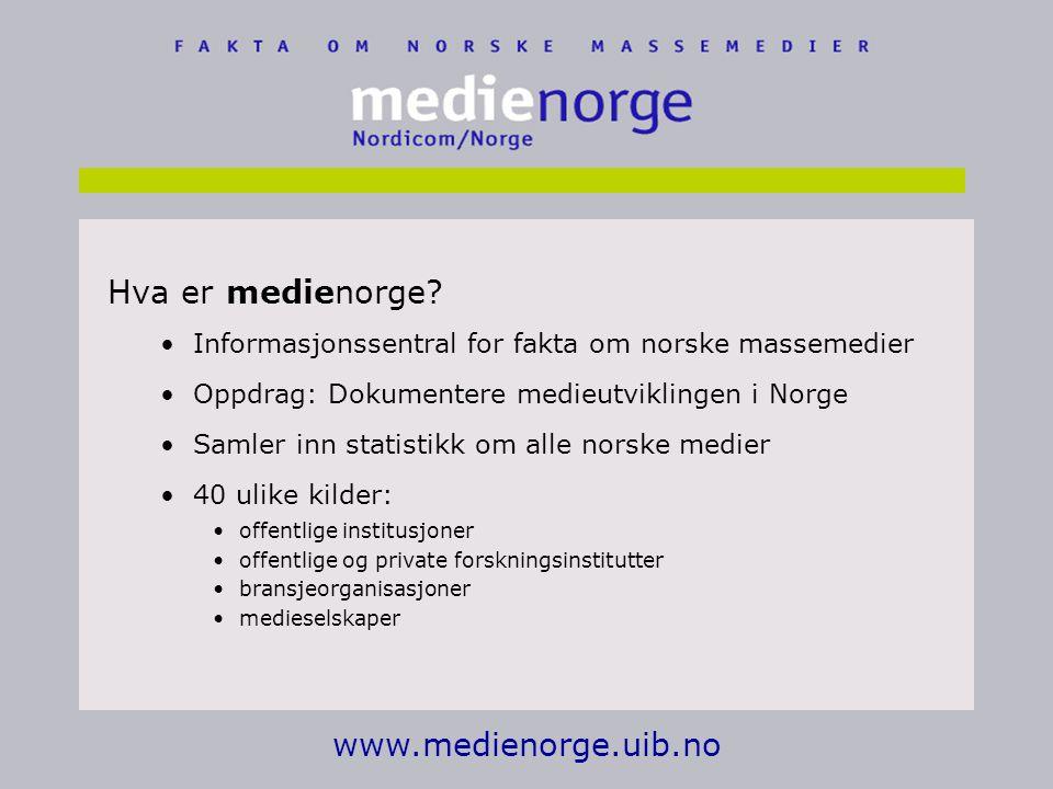 Hva er medienorge www.medienorge.uib.no