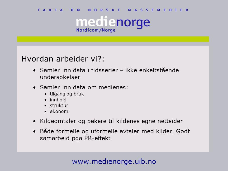 Hvordan arbeider vi : www.medienorge.uib.no