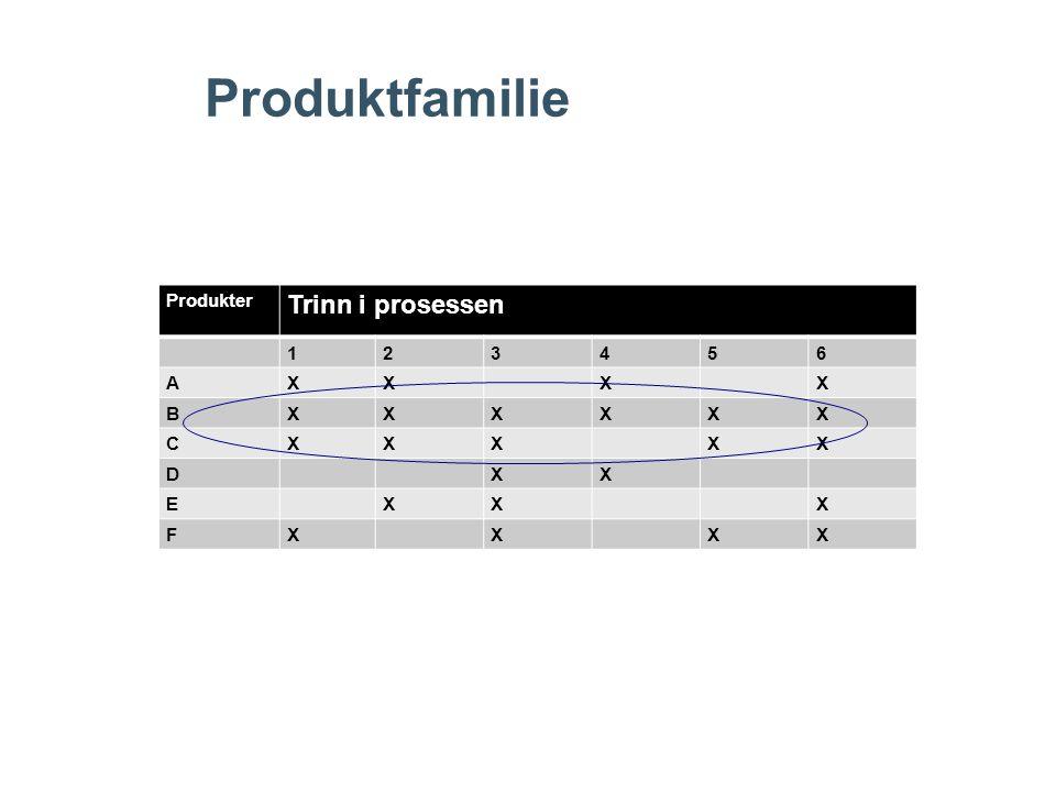 Produktfamilie Produkter Trinn i prosessen 1 2 3 4 5 6 A X B C D E F