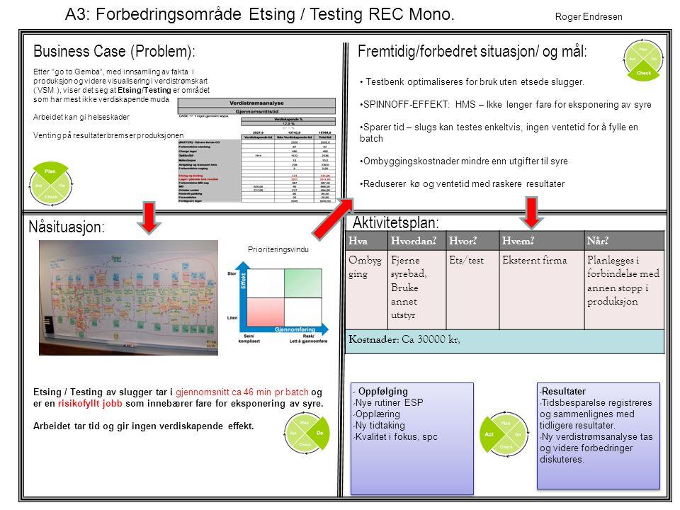 A3: Forbedringsområde Etsing / Testing REC Mono. Roger Endresen
