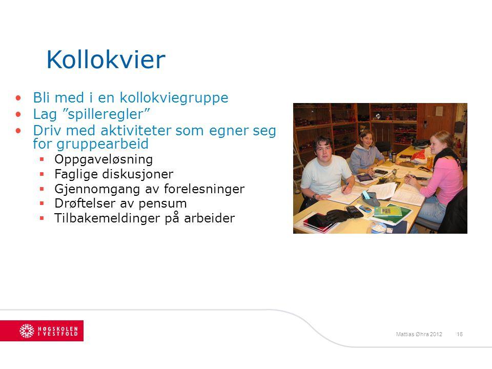 Kollokvier Bli med i en kollokviegruppe Lag spilleregler