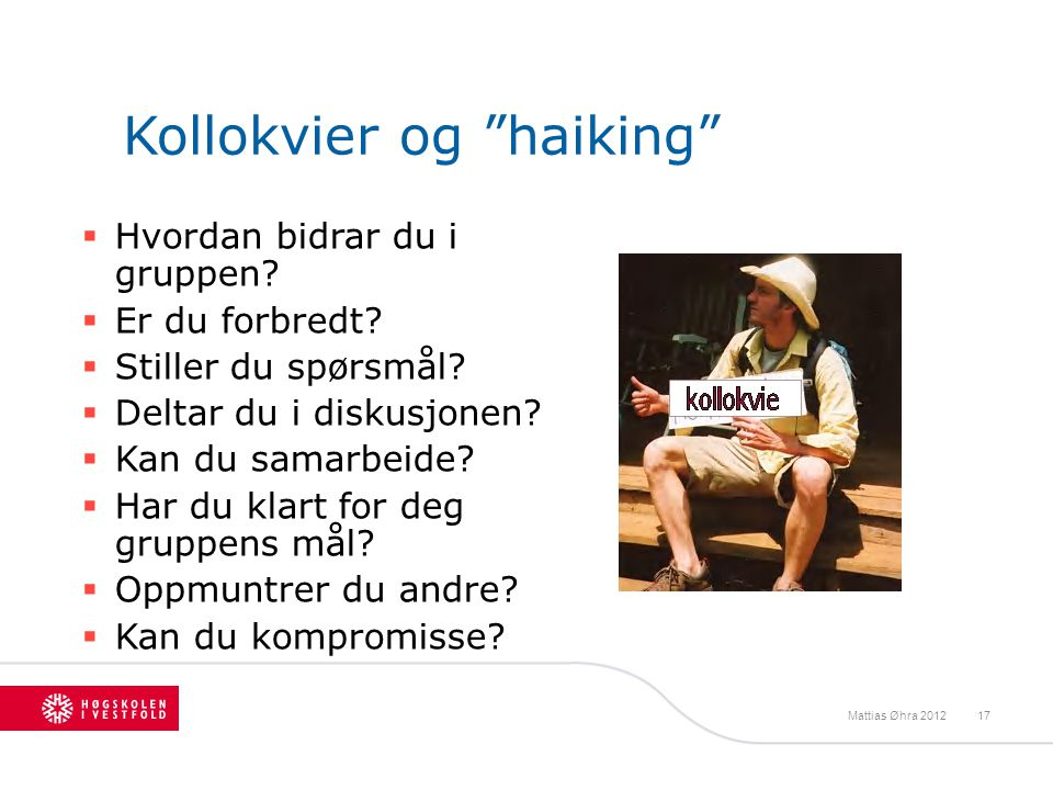 Kollokvier og haiking