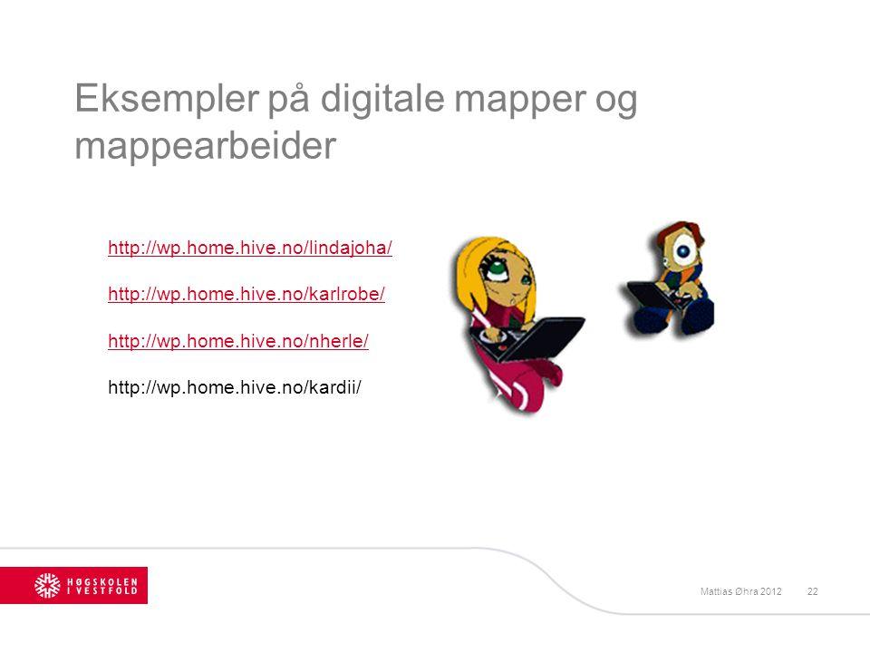 Eksempler på digitale mapper og mappearbeider