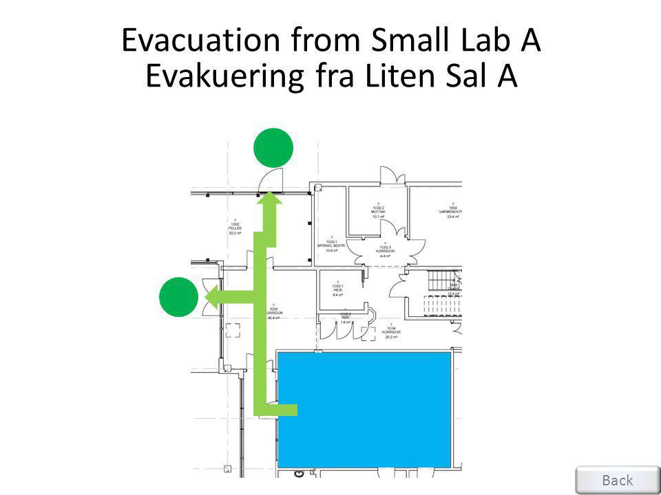 Evacuation from Small Lab A Evakuering fra Liten Sal A