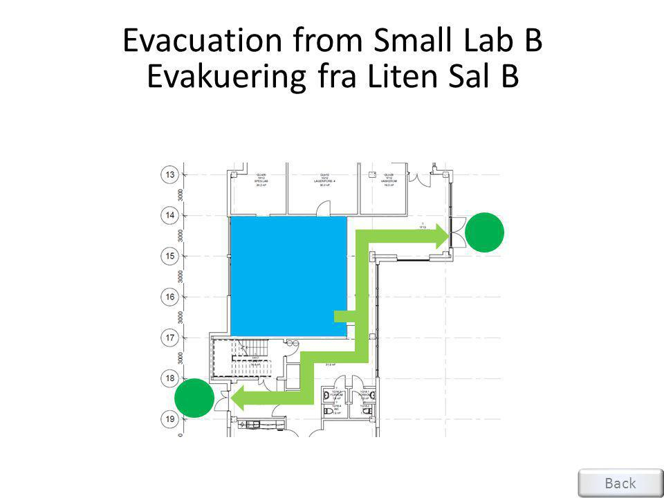 Evacuation from Small Lab B Evakuering fra Liten Sal B