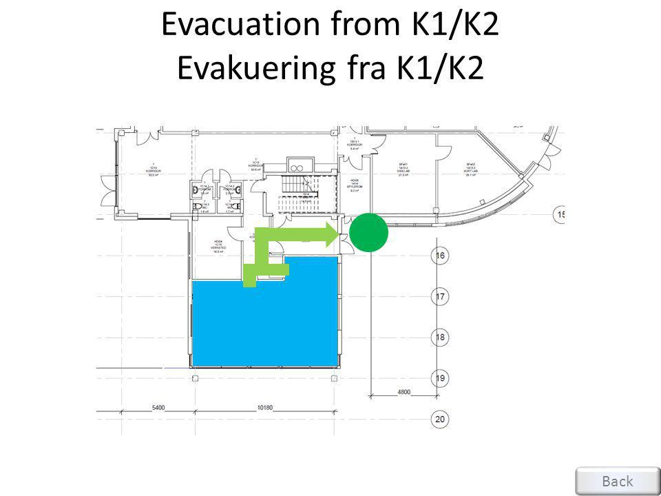 Evacuation from K1/K2 Evakuering fra K1/K2