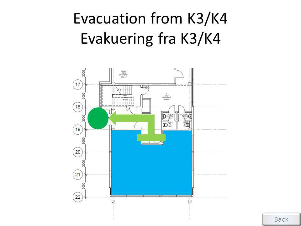 Evacuation from K3/K4 Evakuering fra K3/K4