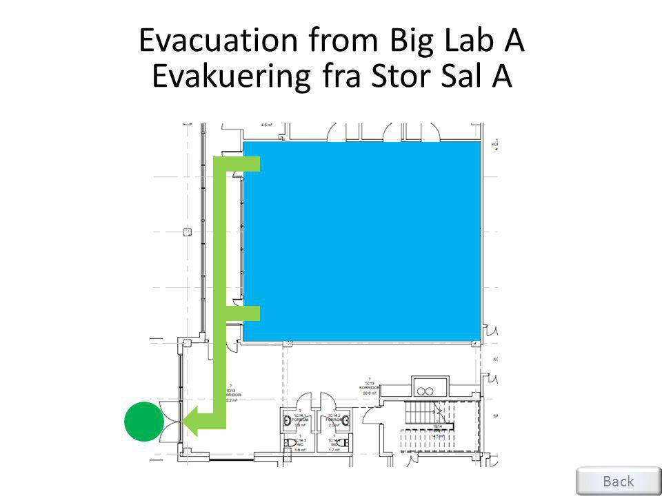 Evacuation from Big Lab A Evakuering fra Stor Sal A
