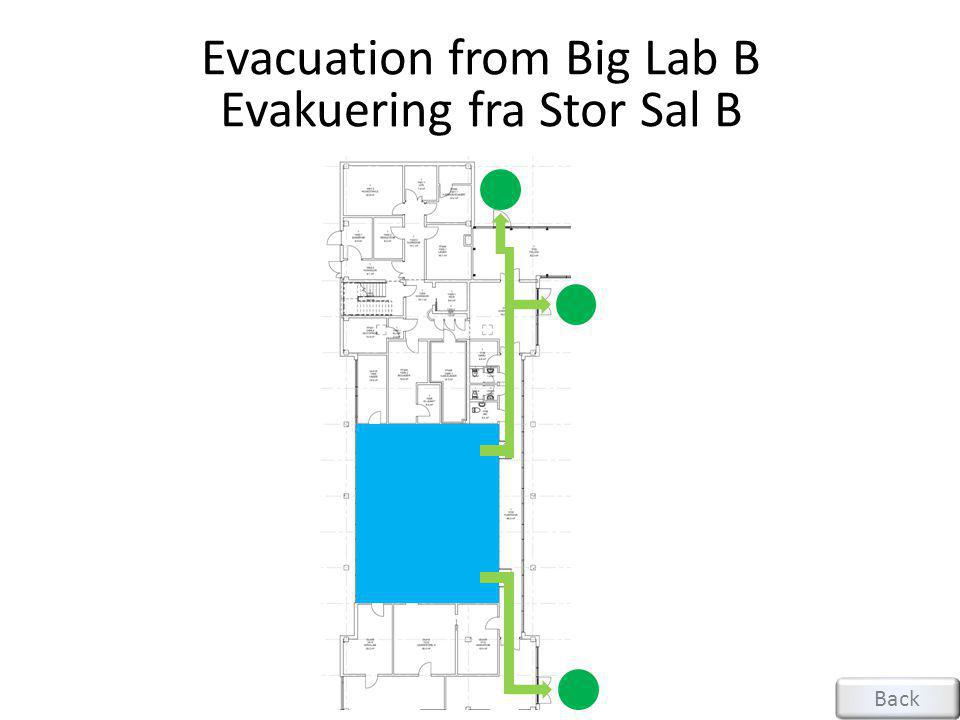 Evacuation from Big Lab B Evakuering fra Stor Sal B