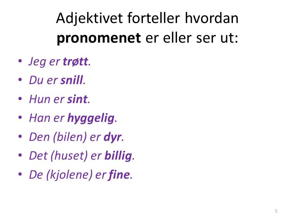 Adjektivet forteller hvordan pronomenet er eller ser ut: