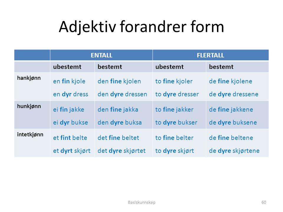 Adjektiv forandrer form