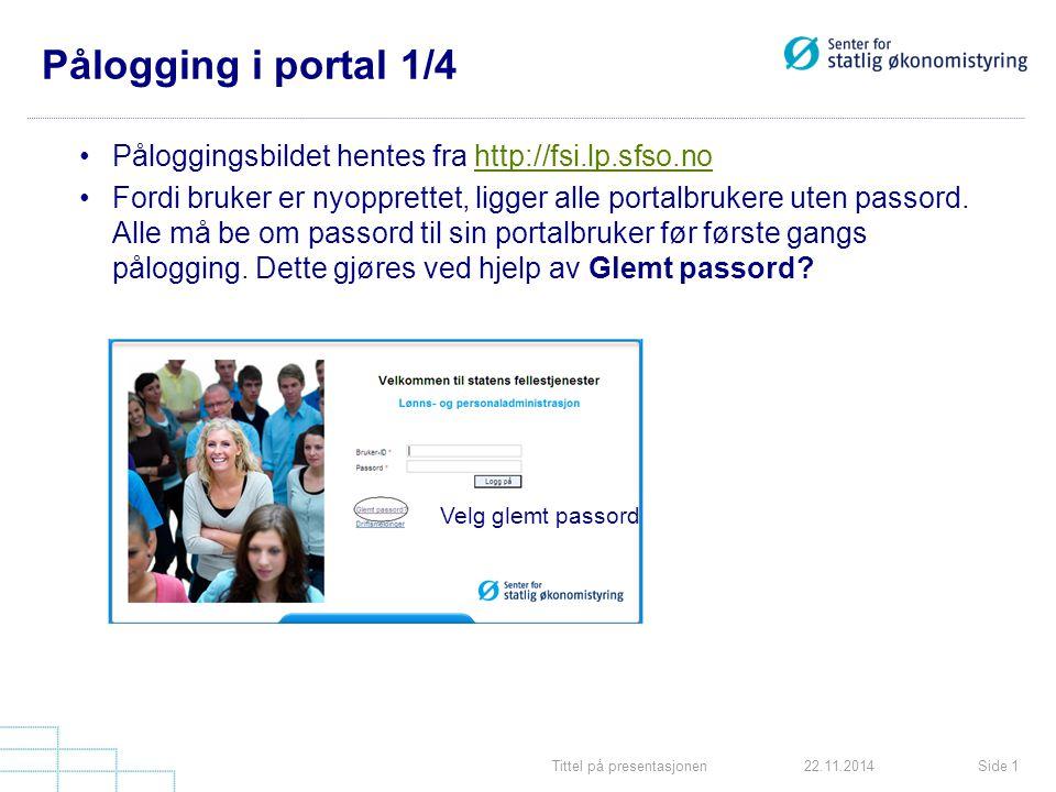 Pålogging i portal 1/4 Påloggingsbildet hentes fra http://fsi.lp.sfso.no.