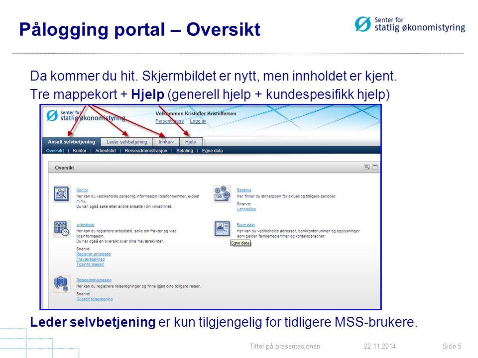 Pålogging portal – Oversikt