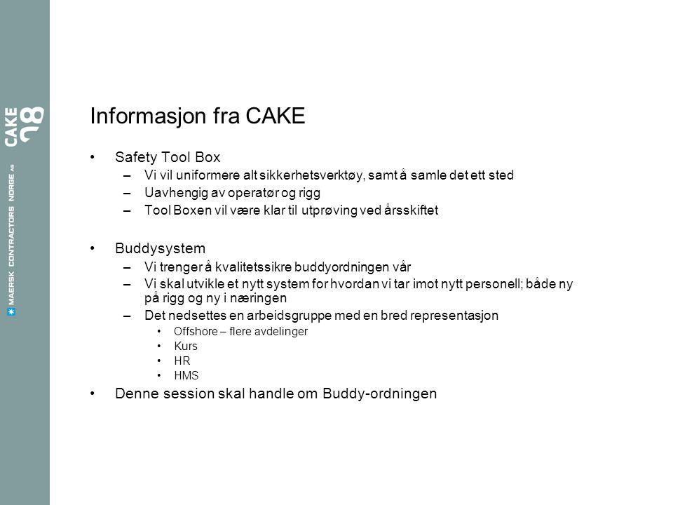 Informasjon fra CAKE Safety Tool Box Buddysystem