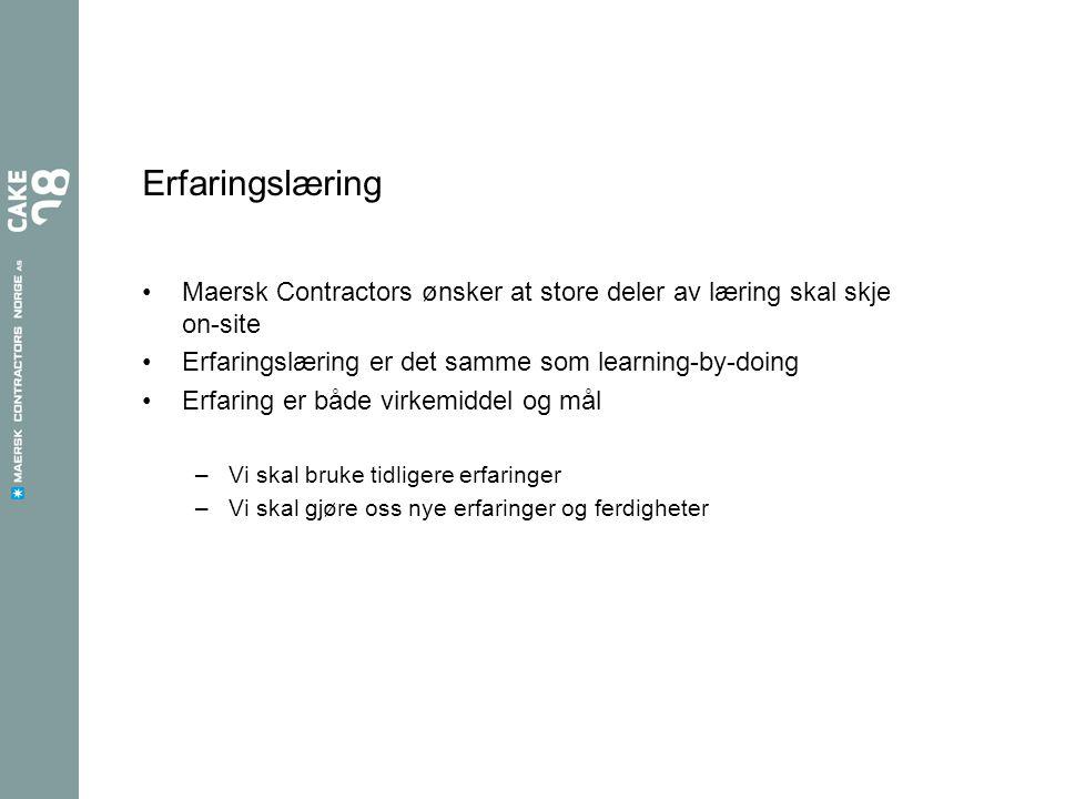 Erfaringslæring Maersk Contractors ønsker at store deler av læring skal skje on-site. Erfaringslæring er det samme som learning-by-doing.