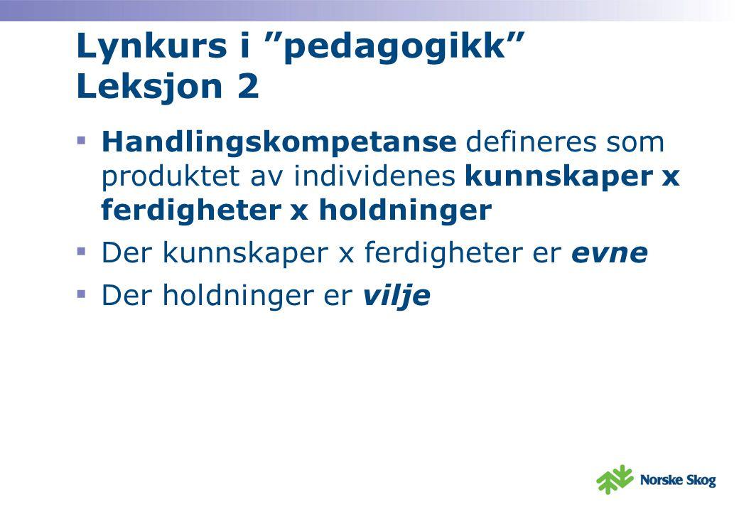 Lynkurs i pedagogikk Leksjon 2