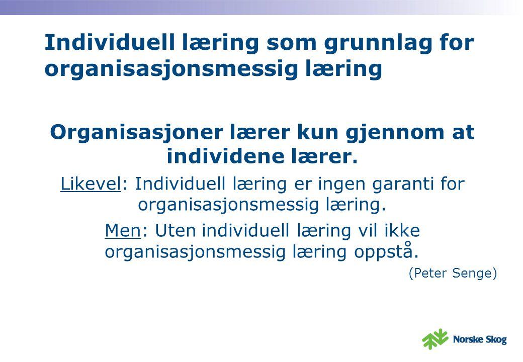 Individuell læring som grunnlag for organisasjonsmessig læring