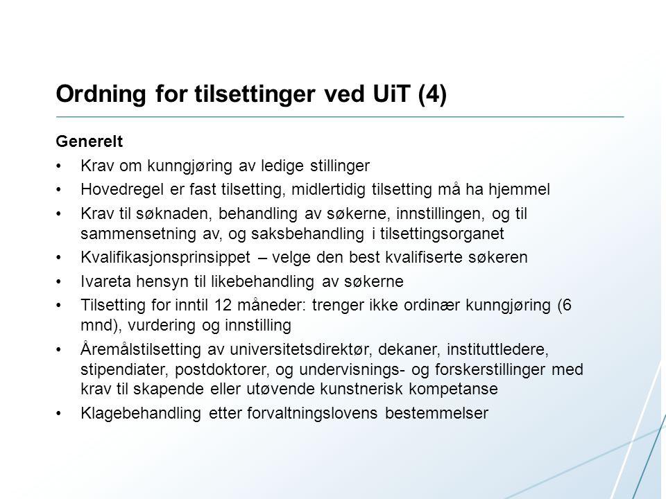 Ordning for tilsettinger ved UiT (4)