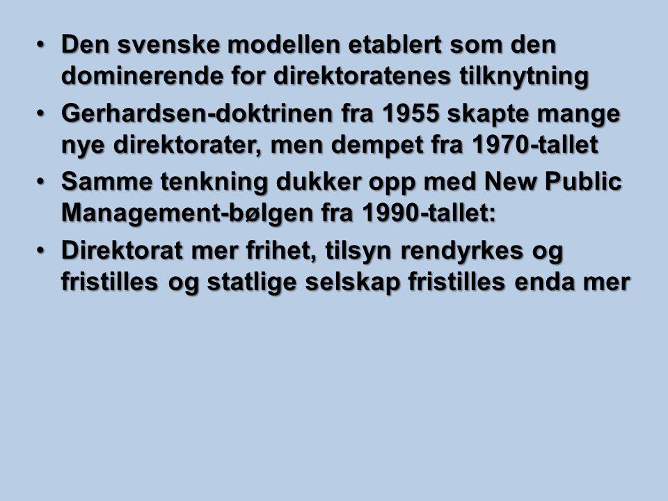 Den svenske modellen etablert som den dominerende for direktoratenes tilknytning