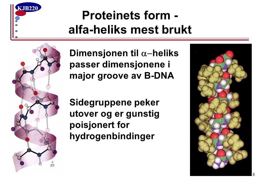 Proteinets form - alfa-heliks mest brukt