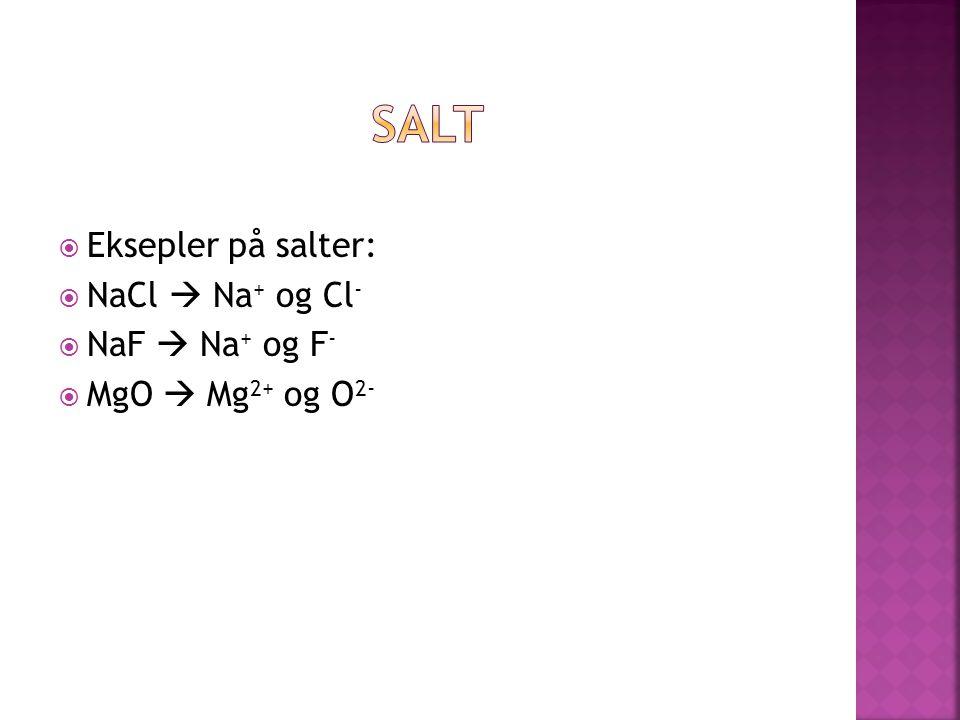 Salt Eksepler på salter: NaCl  Na+ og Cl- NaF  Na+ og F-